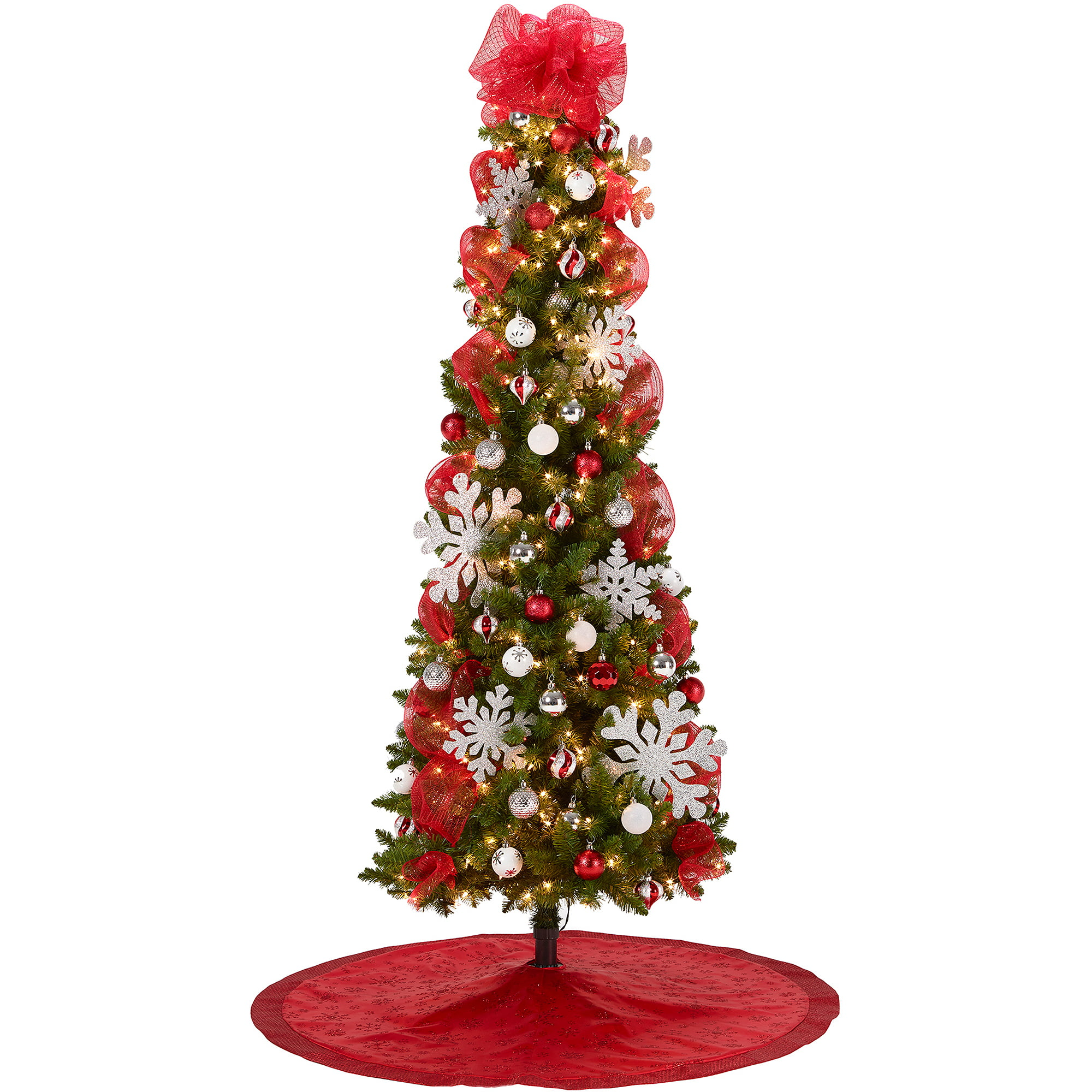 7 pre lit brinkley pine christmas tree with red and silver decoration kit walmartcom - Red And Silver Christmas Decorations