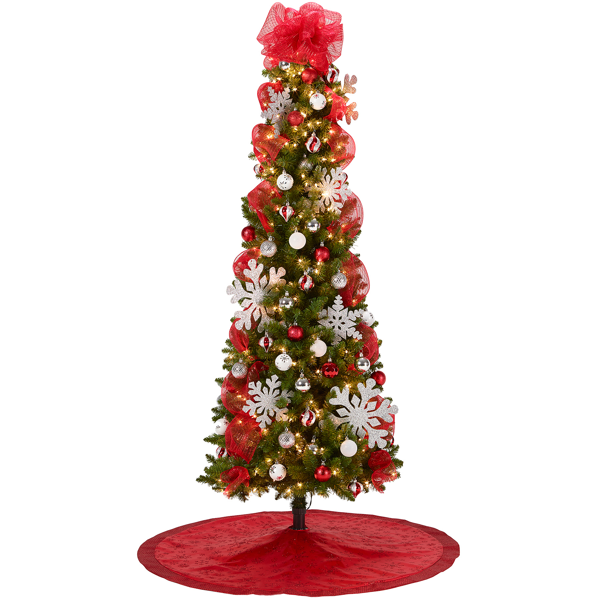 7' Pre-Lit Brinkley Pine Christmas Tree with Red and Silver Decoration Kit