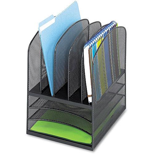 Safco Onyx Mesh Desk Organizer, 8 Sections, 11 3/8w x 9 1/2d x 13h, Black