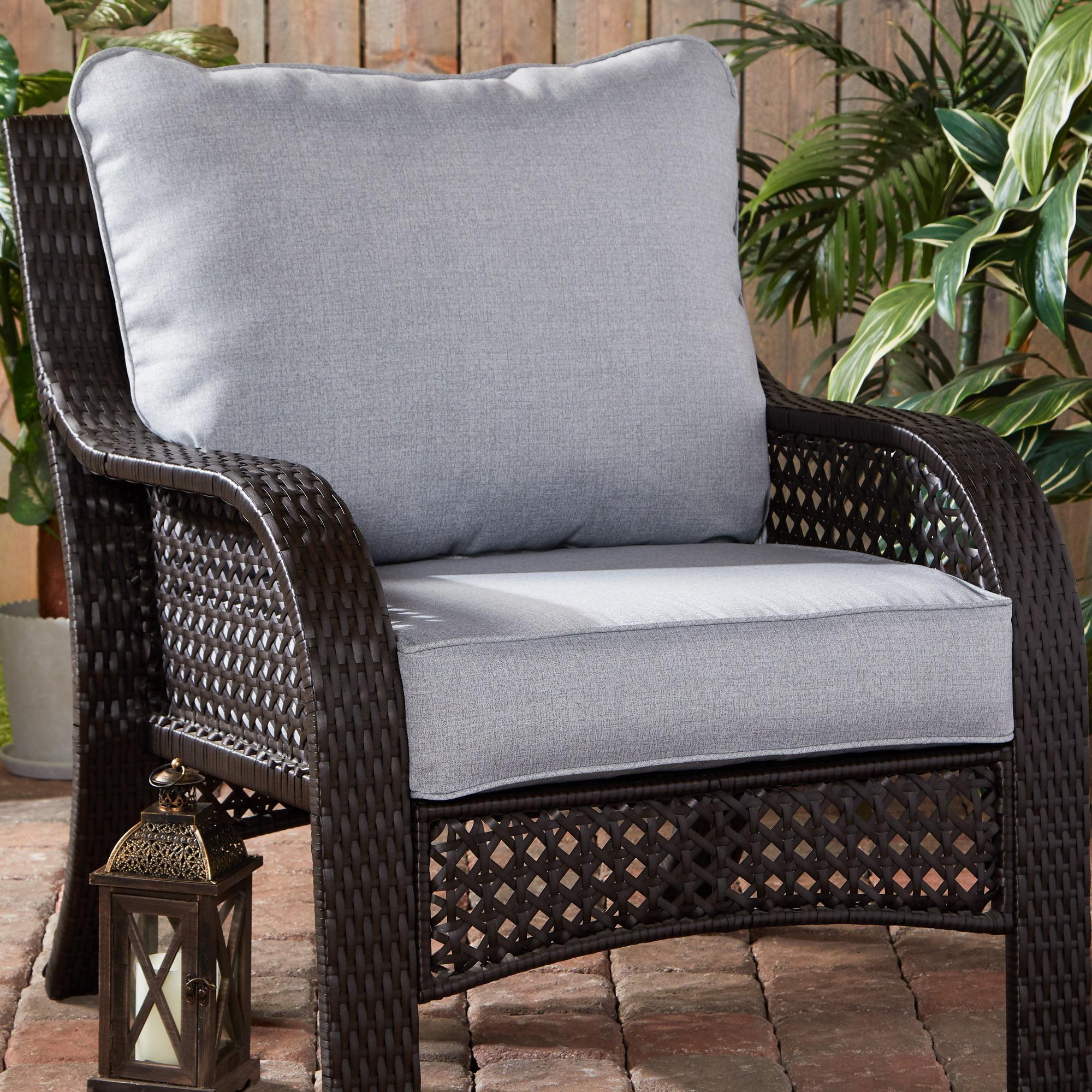 Heather Gray Outdoor 2 Pc Deep Seat Cushion Set Walmart Com Walmart Com