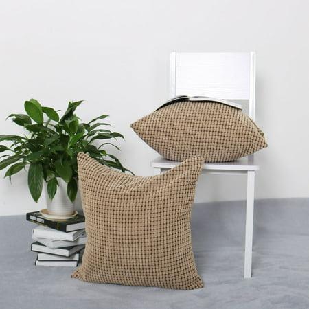 "Sofa Cushion Cover Striped Corduroy Throw Toss Pillow Cases 18"" Brown - image 4 de 7"