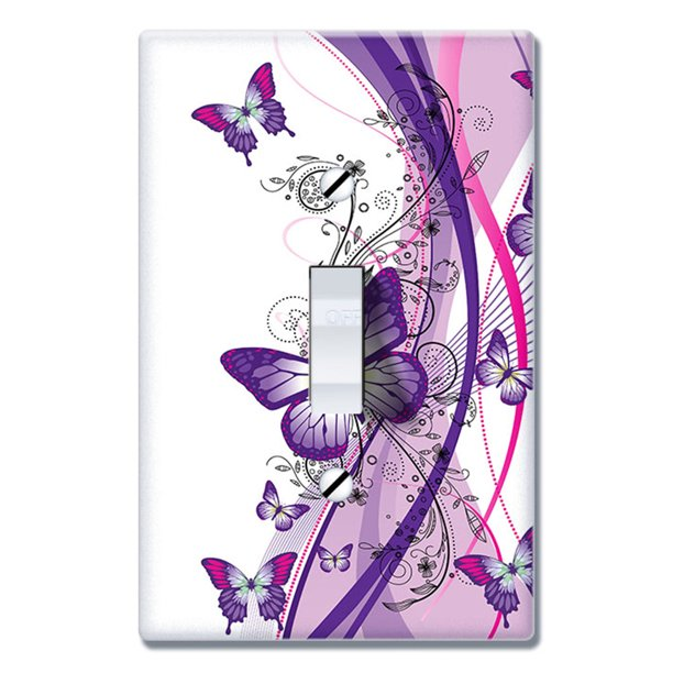 Wirester 1 Gang Toggle Wall Plate Switch Plate Cover 2 Tone Purple Butterfly Walmart Com Walmart Com