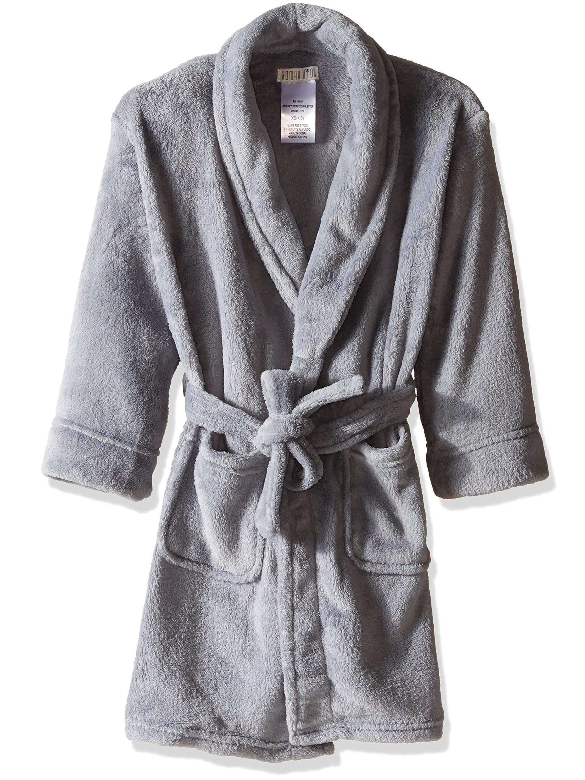 Komar Kids Boys' Fleece Robe Solid Gray, Bathrobe Sizes 4-10
