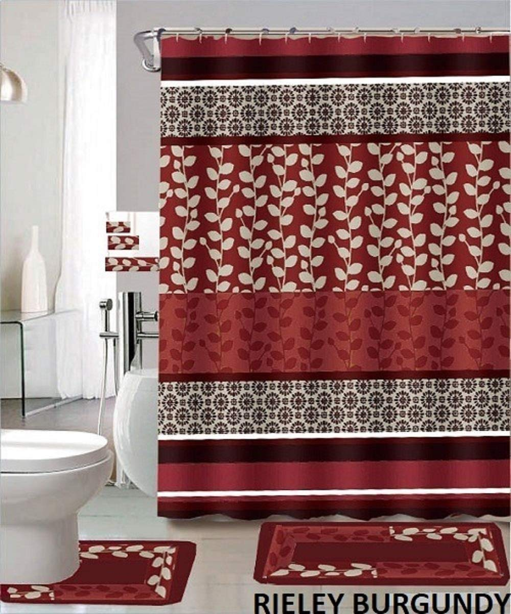 Beautiful 12 Burgundy Fabric Covered Shower Curtain Rings