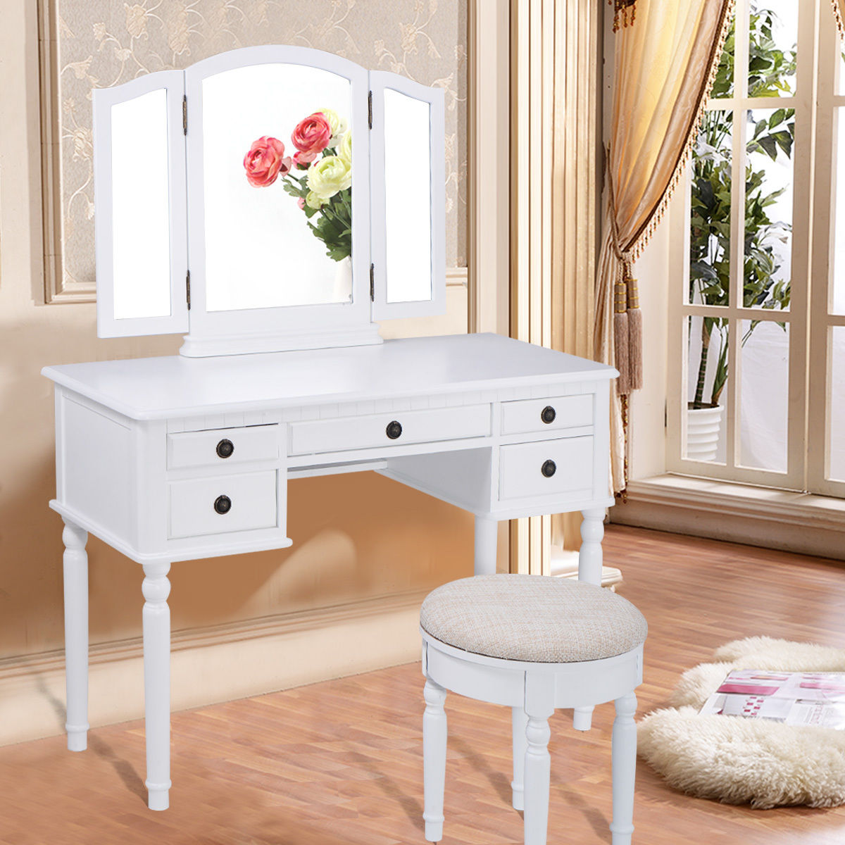 Costway 43''x19''x56'' Tri Folding Mirror Wood Luxury Vanity Makeup Set W 5 Drawer White by Costway