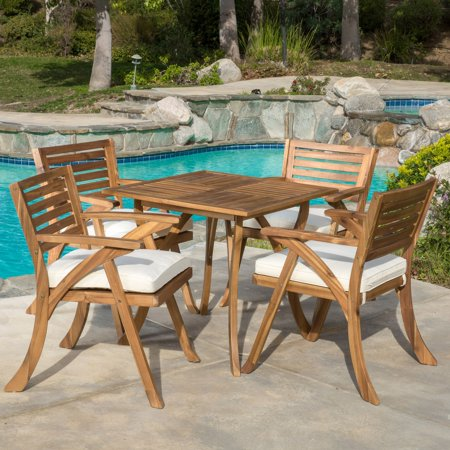 Michelle Wood 5 Piece Square Patio Dining Set with