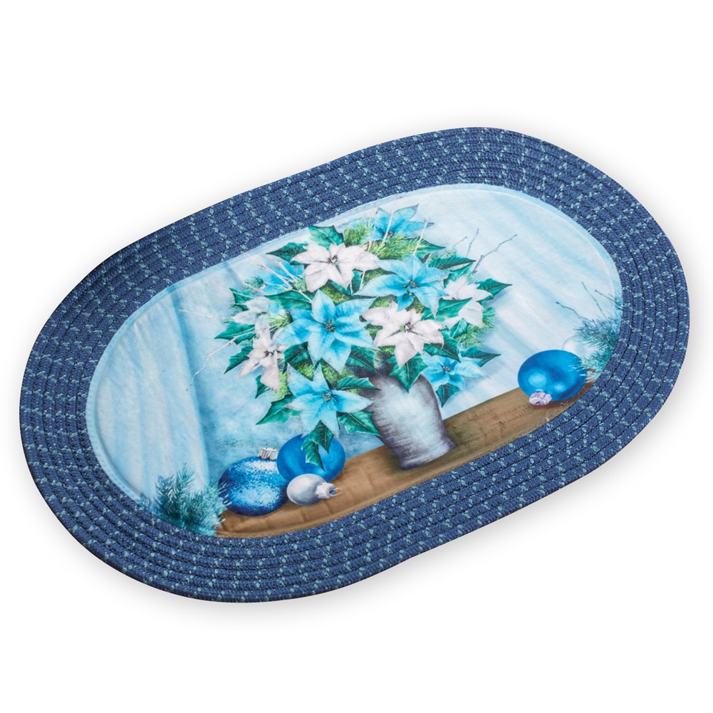 Icy Blue Poinsettia Christmas Braided Rug by Collections Etc