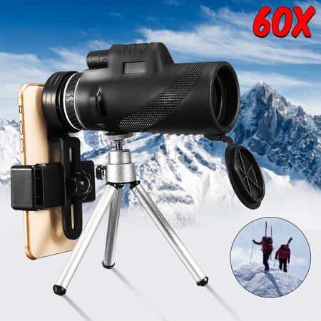 Waterproof 9500m 40X60 Compact HD Monocular Telescope Telephoto Camera Lens + Tripod For Universal Cell Phones for Hunting Bird Watching Camping Valentine's -