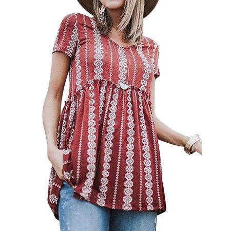 STARVNC Women Floral Print Short Sleeve V Neck Peplum Blouse Shirt