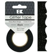 Best Creation Designer Glitter Tape 15mmx5m-Black Fancy Wave