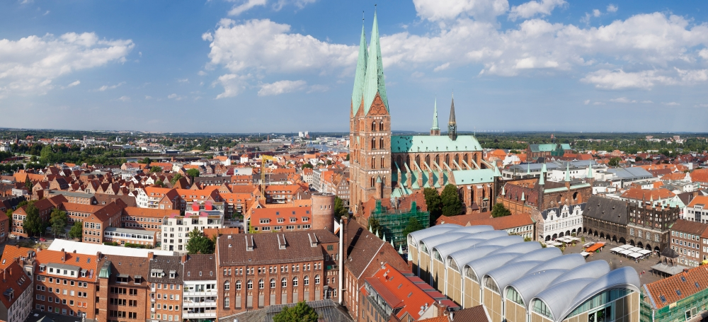 High angle view of the St Marys Church Lubeck Schleswig-Holstein Germany Canvas Art Panoramic IMages (9 x 27) by Supplier Generic