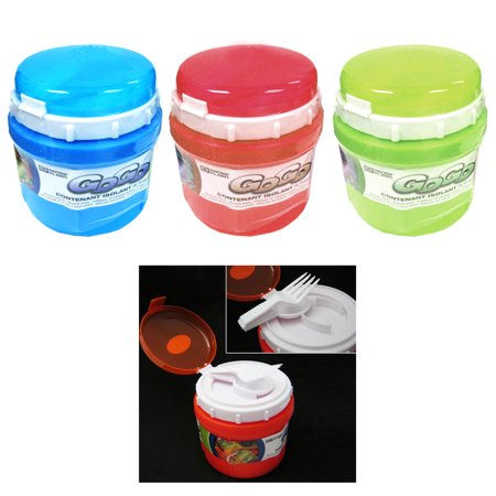AllTopBargains INSULATED FOOD JAR THERMO HOT COLD FOOD LUNCH BAG CONTAINER BOWL SPOON FORK 10OZ