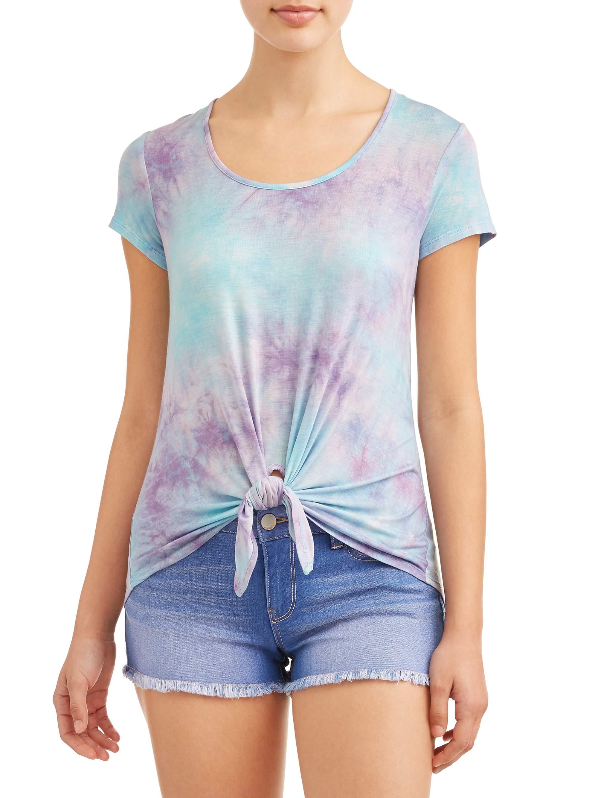 Juniors' Tie Dye Tie Front Short Sleeve Crew Neck T-Shirt