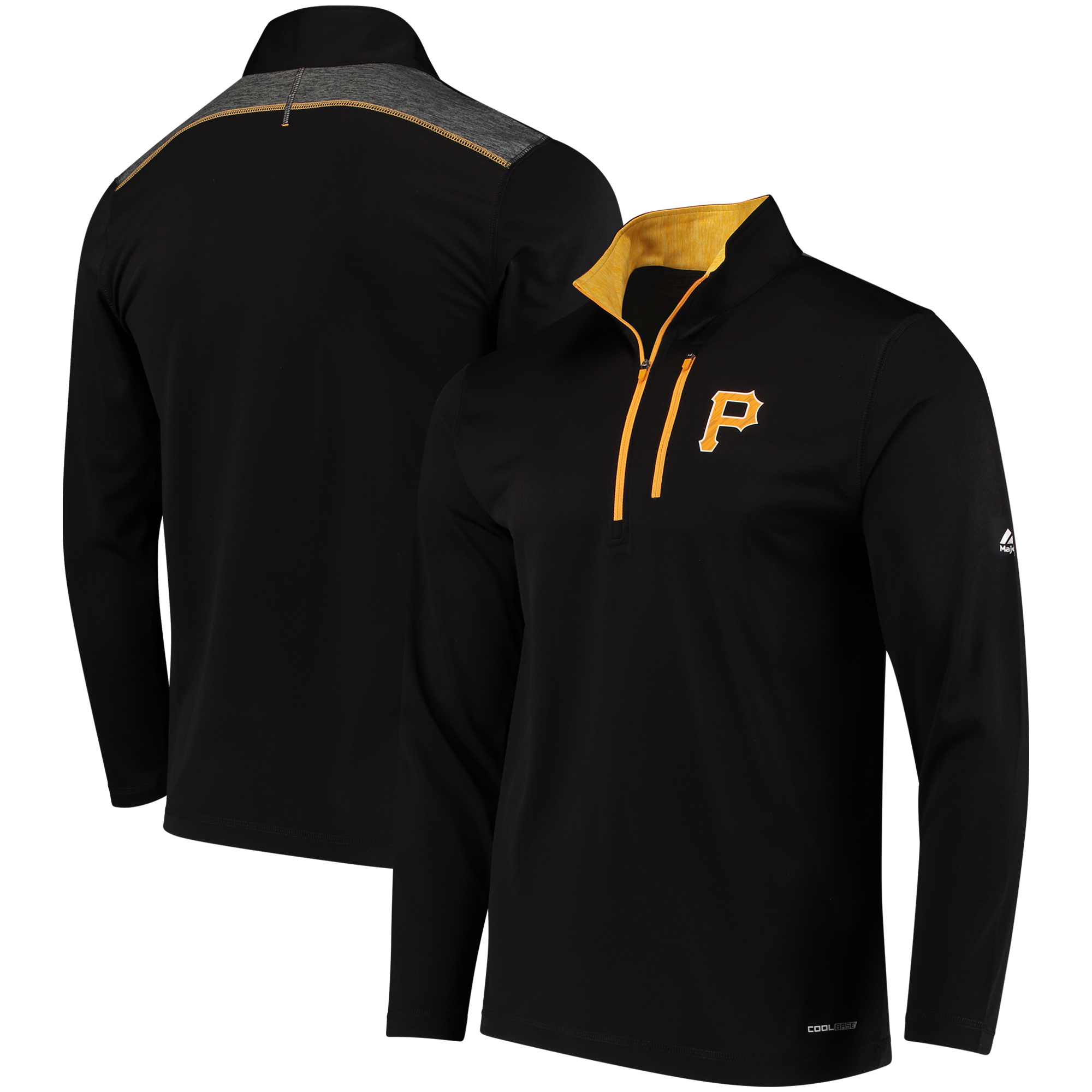 Pittsburgh Pirates Majestic Half-Zip Pullover Top - Black