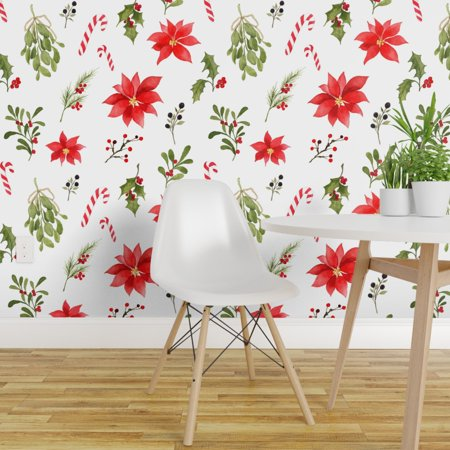 Peel-and-Stick Removable Wallpaper Watercolor Holiday Christmas Holly Mistletoe ()