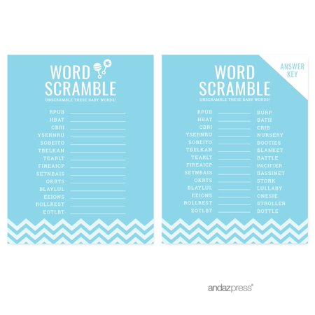 Baby Shower Game Prizes For Guests (Word Scramble Baby Blue Chevron Baby Shower Games,)