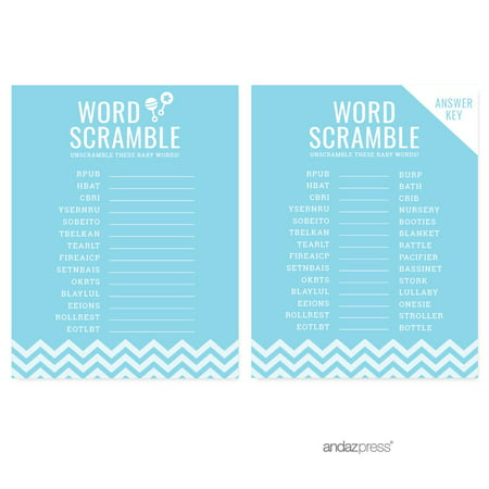 Word Scramble Baby Blue Chevron Baby Shower Games, 20-Pack