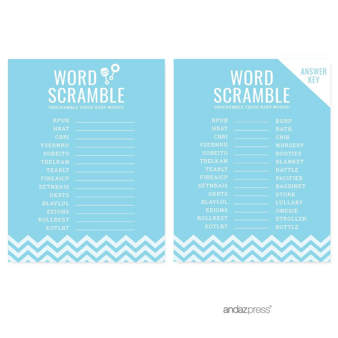 Word Scramble Baby Blue Chevron Baby Shower Games, 20-Pack