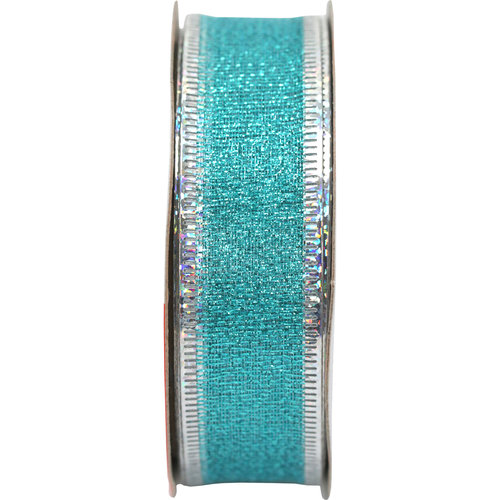 """Holiday Time Fabric Ribbon, Blue with Silver Edge, 7/8"""" x 9'"""