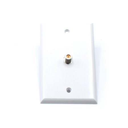 THE CIMPLE CO White Video Wall Jack for Coax Cable F Type Coaxial Wallplate (Wall Plate) – 3 GHz Coupler Approved for Comcast, DIRECTV, Dish Network, and Antennas (100 Pack)