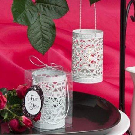 White Metal Filigree Design Luminary Favor  pack of 50 - Wedding Luminaries