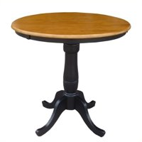 """Pemberly Row 36"""" Round Table in Black and Soft Cherry"""