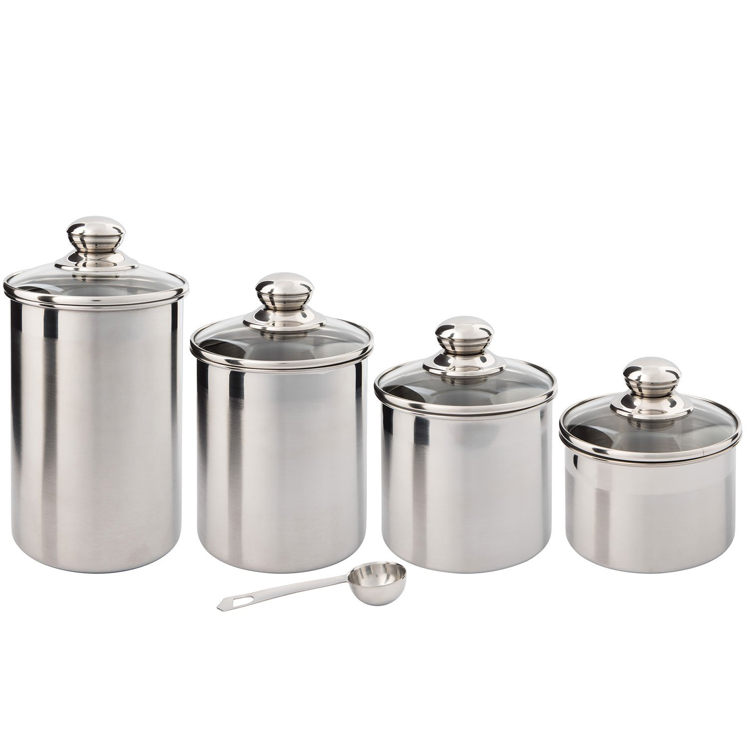 Silver yx Canister Set Stainless Steel 4 piece Walmart