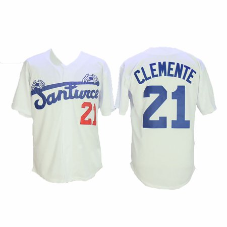 newest 05696 2b047 Roberto Clemente 21 Santurce Crabbers Baseball Jersey White Uniform Puerto  Rico