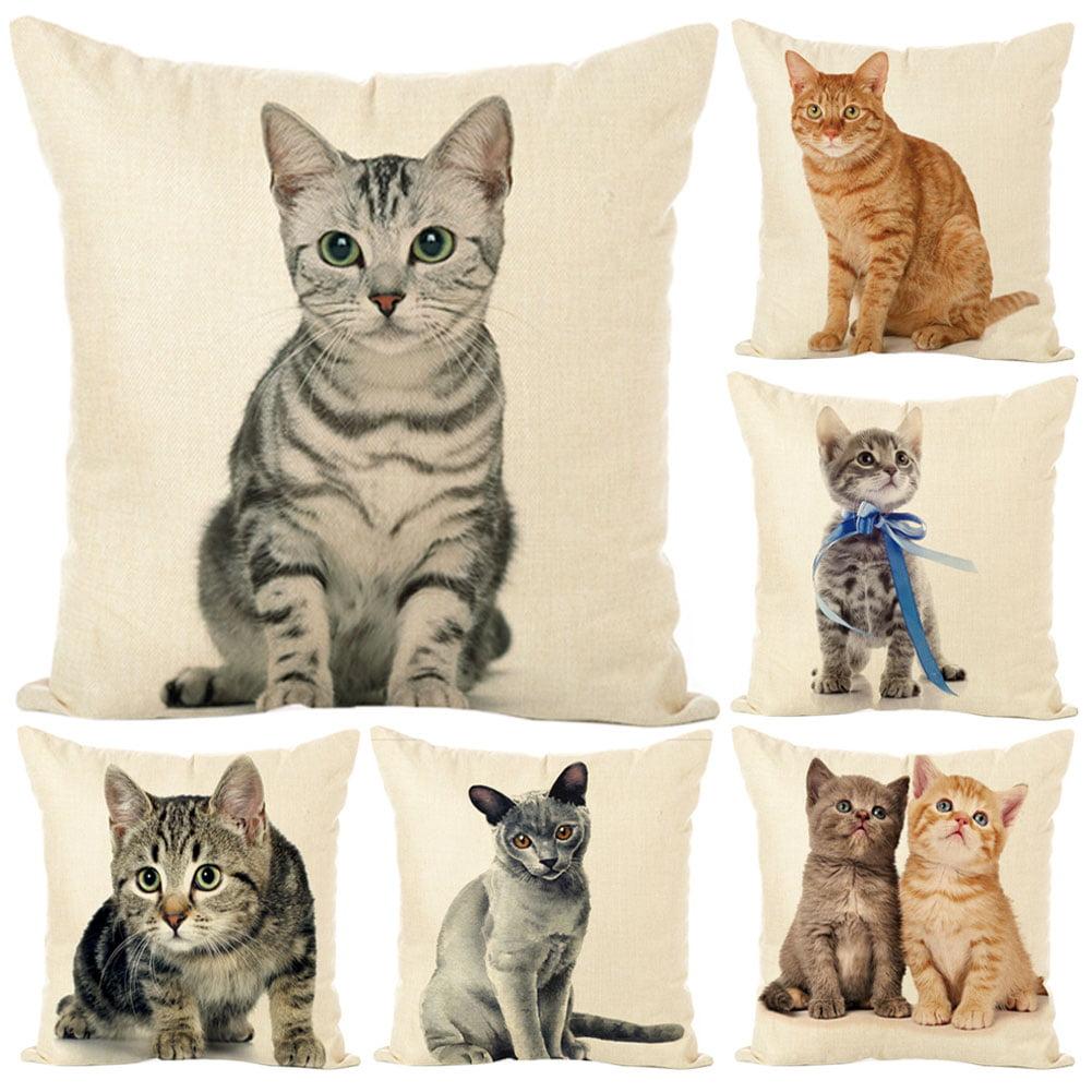 Cute Cat Pillow Case Cotton Linen Cushion Cover Waist Pillowcase Home Sofa Decor