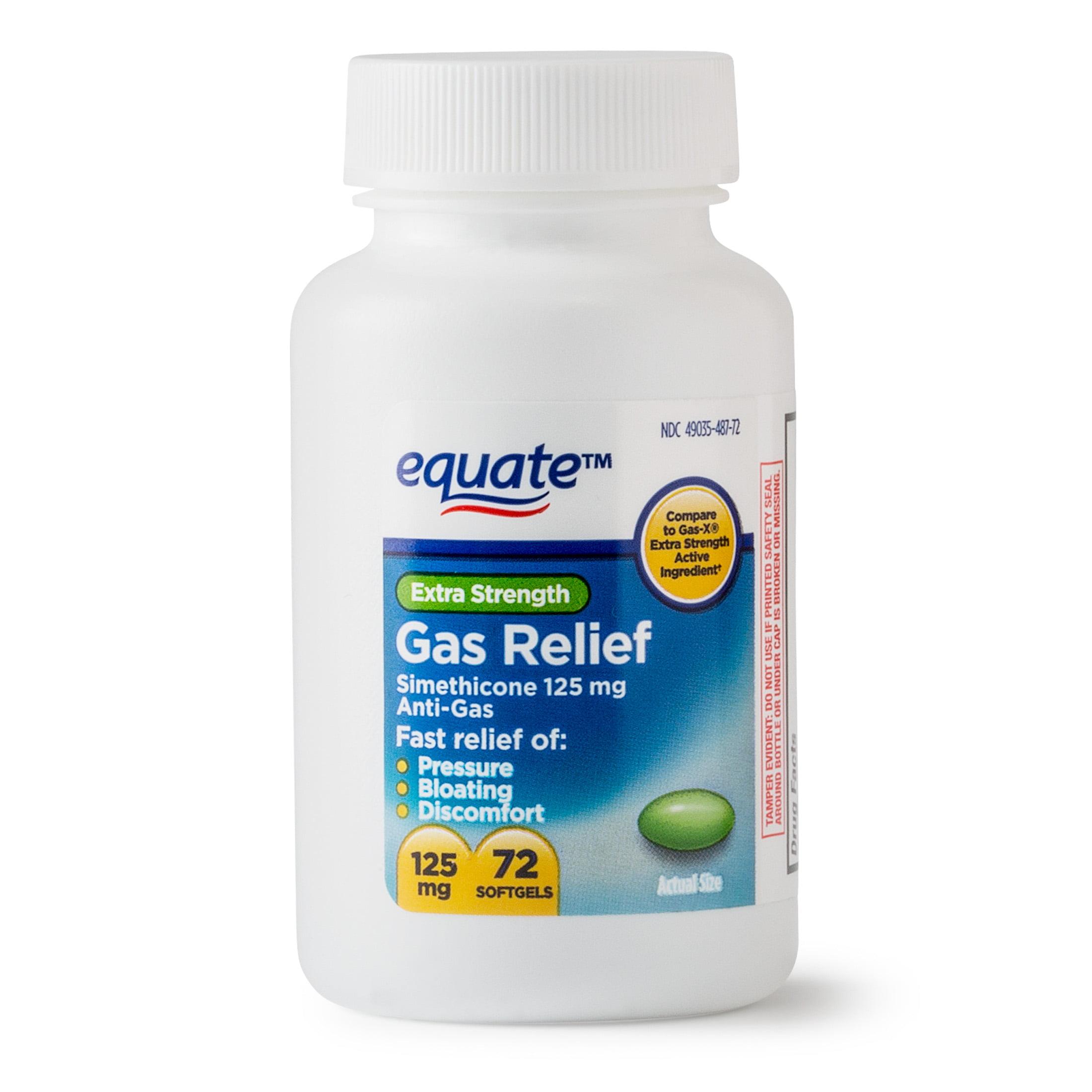 Equate Extra Strength Gas Relief Simethicone Softgels, 125 mg, 72 Ct