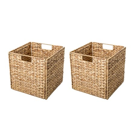 Foldable Hyacinth Storage Basket with Iron Wire Frame By Trademark Innovations (Set of 2) Easy Track Wire Basket