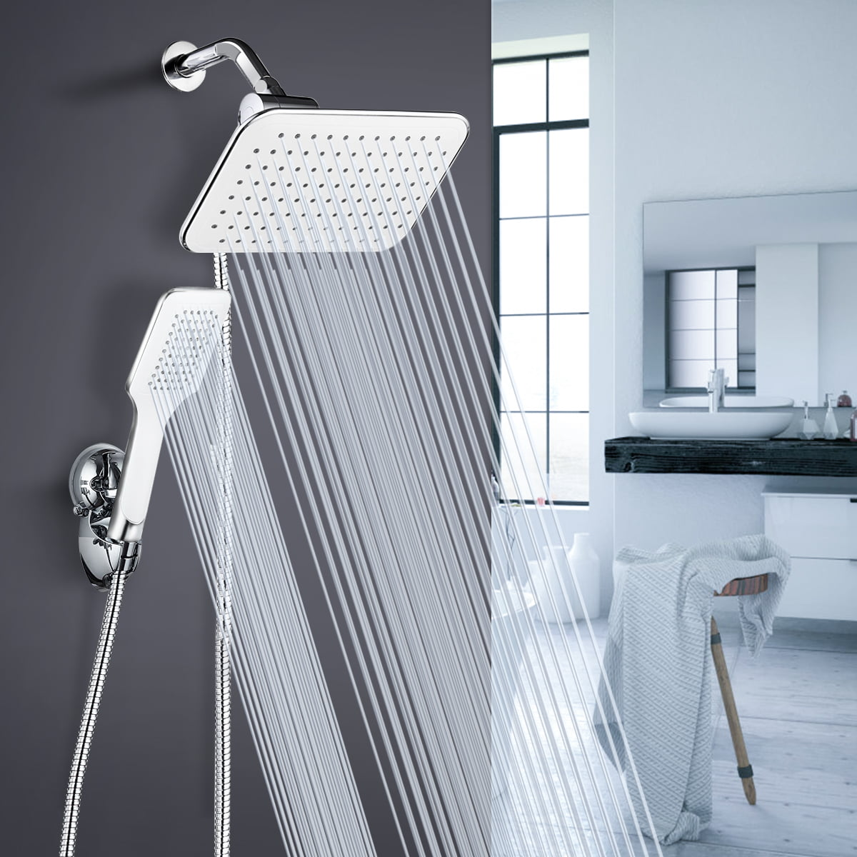 10 In Rain Shower Head Handheld Combo Adjustable Rainfall Showerhead Handheld Shower Head Combo 3 Spray Modes With Wall Bracket 1 5m Hose Chrome Walmart Canada
