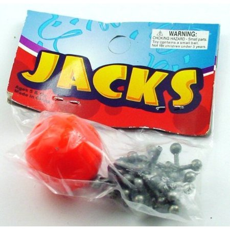 Jacks & Ball Set, Includes 1 rubber bal and 0 SMALL metal jacks each measuring approximately 5/8 each By DOMAGRON Novelty (Small Rubber Balls)