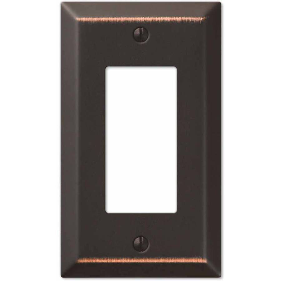 Century Aged Bronze Steel Single Rocker Wallplate by Amertac
