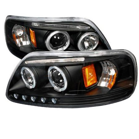 Halo LED Projector Headlights for 97 to 02 Ford Expedition, Black - 9 x 20 x 22 -