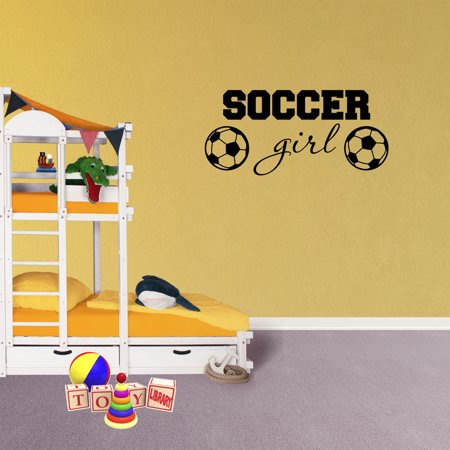 Sports Nursery Decor (Wall Decal Quote Soccer Girl Decor Nursery Sports Vinyl Kids Room Sticker)