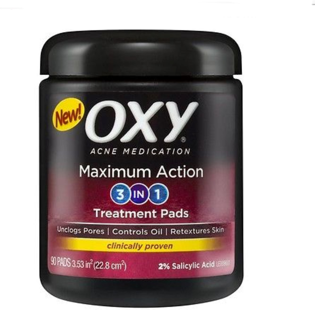 OXY Maximum Action 3-In-1 Treatment Pads 90 ea (Pack of 4)