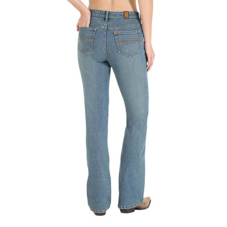 Wrangler Womens Aura Mid Rise Slimming Boot Cut Jean - Mid Stone