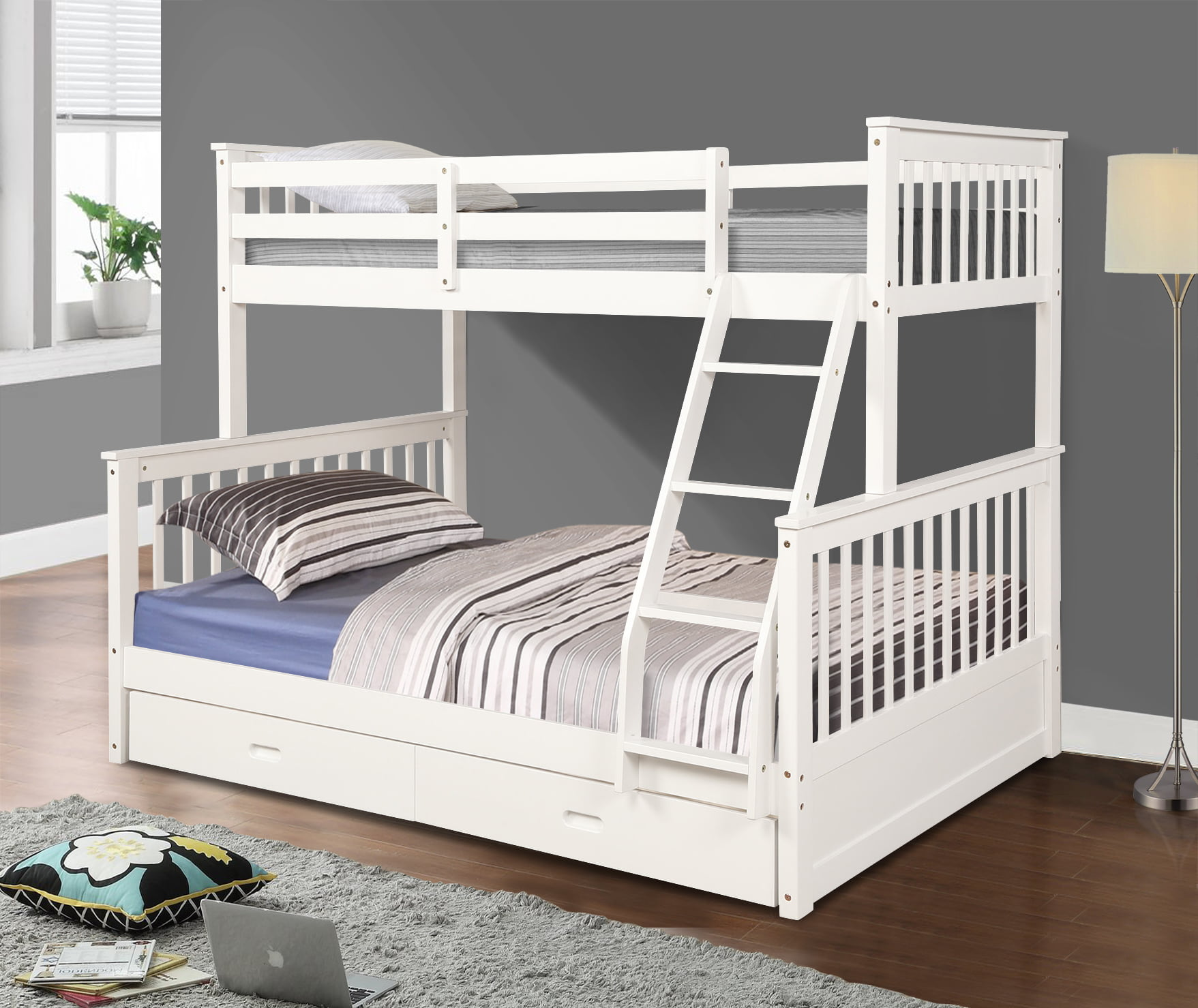 Picture of: Bunk Beds Twin Over Full Solid Wood Bunk Bed Nbsp Kids Twin Over Full Bunk Beds Bunk Bed Organizer With Four Step Ladder Guardrails 2 Storage Drawers Bunk Beds For Kids Boys Girls White Q7659