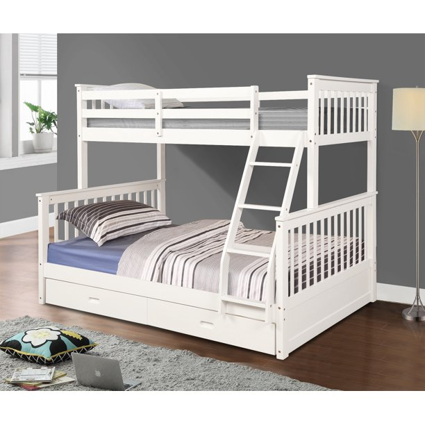 Bunk Beds Twin Over Full, Solid Wood Bunk Bed, Kids Twin Over
