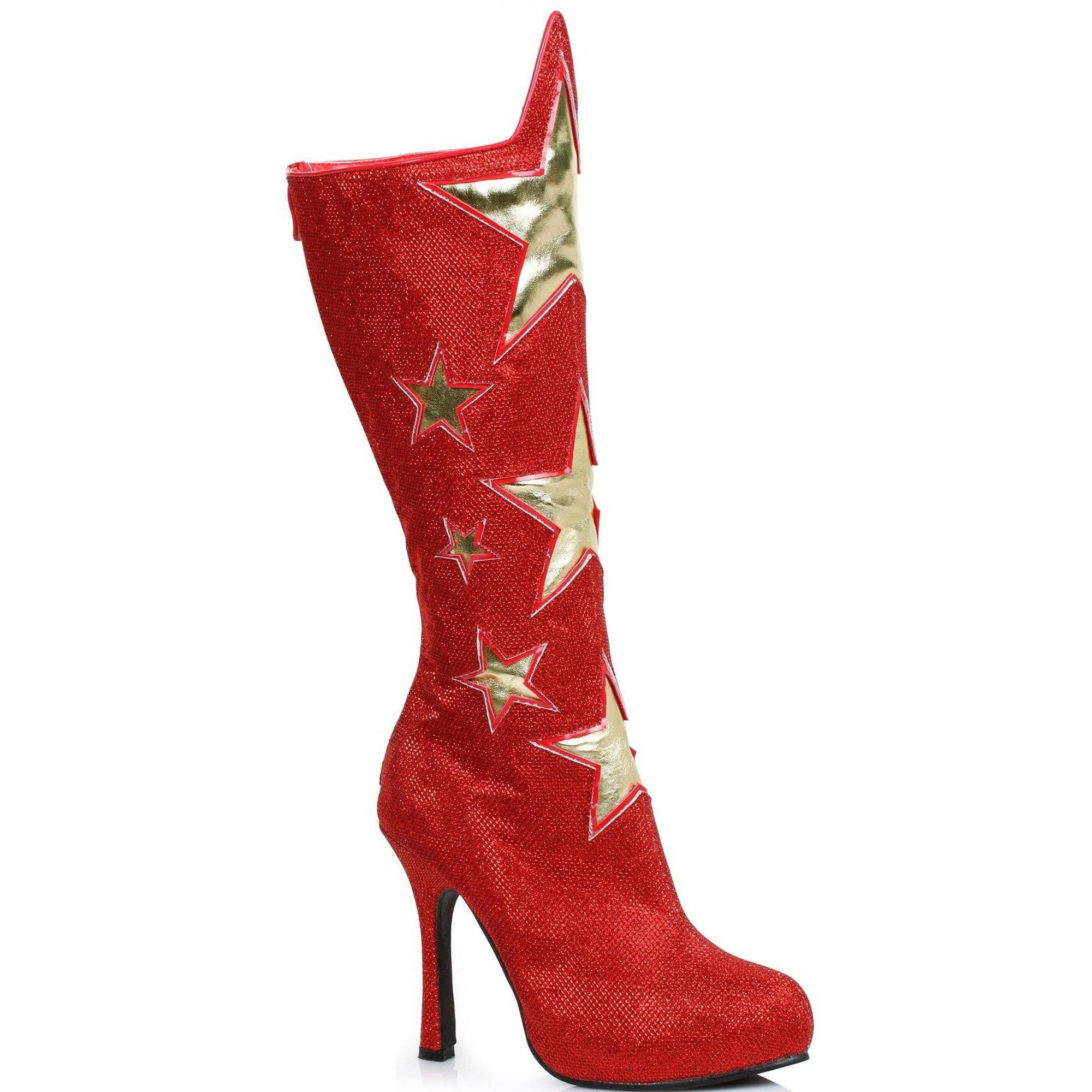 Red Women's Superhero Star Boots Halloween Costume Accessory