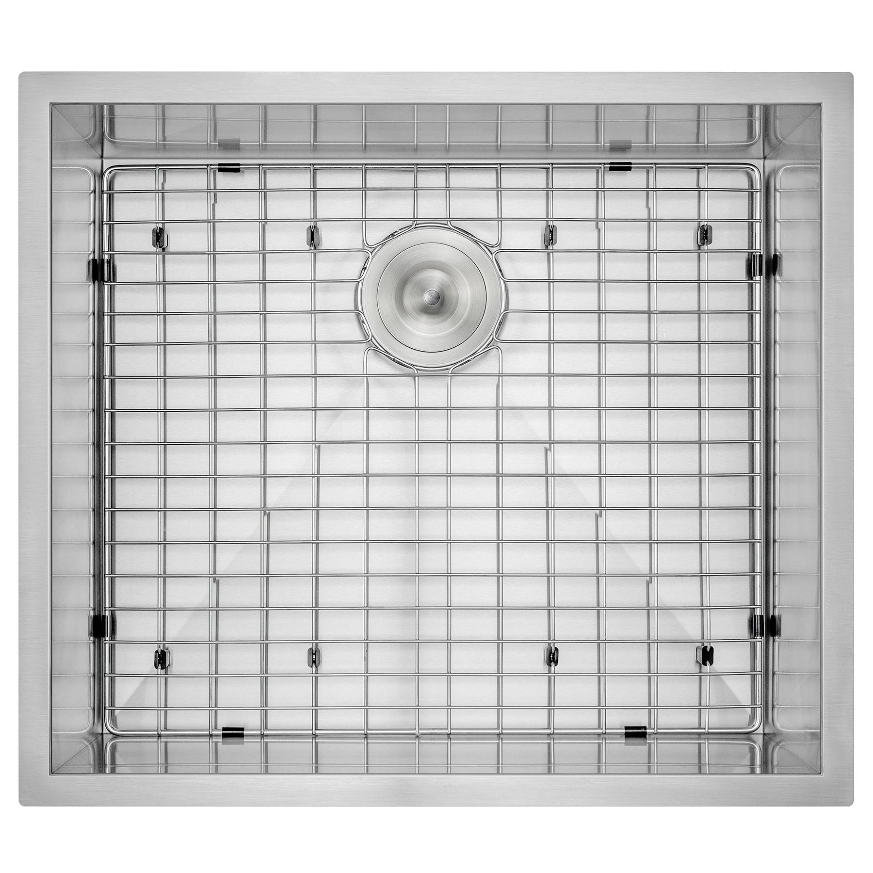 "Image of AKDY 25"" x 22"" x 9"" Handmade Under Mount Single Basin 18 Gauge Stainless Steel Kitchen Sink w/ Dish Grid Drain Kit"
