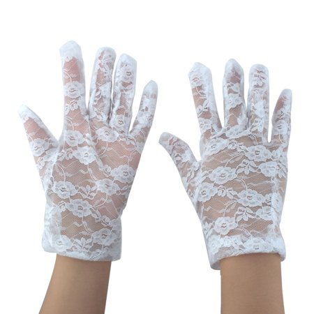 Ladies Driving Cycling Lace Full Finger Mittens Sun Resistant Gloves White Pair