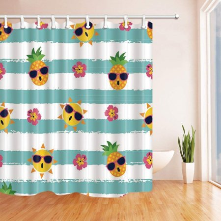 ARTJIA Kids Watercolor Fruit Decor Cartoon Pineapple and Sun with Sunglasses in Turquoise Stripe Polyester Fabric Bath Curtain, Bathroom Shower Curtain 66x72 - Turquoise Sunglasses