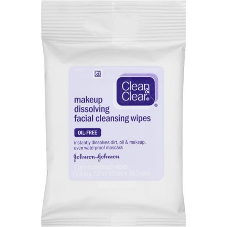 Clean & Clear Makeup Dissolving Facial Cleansing Wipes, 7 ct