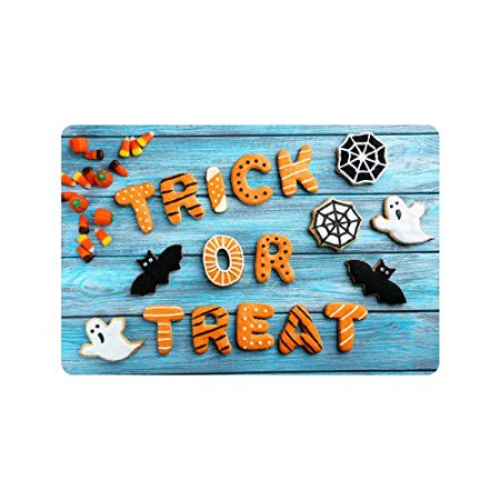 MKHERT Funny Halloween Gingerbread Cookies On Wooden Doormat Rug Home Decor Floor Mat Bath Mat 23.6x15.7 inch - Floor 5 Halloween 100 Floors