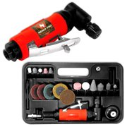 Pro 22 Piece Air Angle Die Grinder Kit Includes Stones Wheel Discs Polishers
