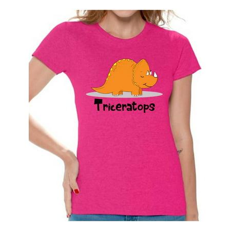 Awkward Styles Triceratops Dinosaur Shirt for Women Dinosaur Tshirt Spirit Animal T Shirt for Women Triceratops Gifts for Her Dinosaur Party Outfit Dinosaur Birthday Outfit Funny Triceratops - Women Anime
