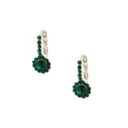 Wedding Jewelry Siver Plated Emerald Green Hoop Dangle Round  Stud (Emerald Wedding Earrings)