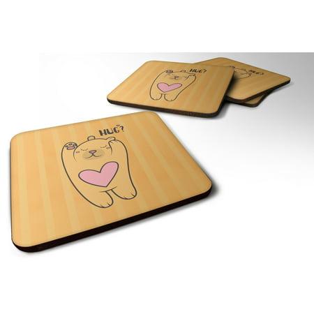 (Set of 4 Nursery Hug Bear Foam Coasters Set of 4 BB7470FC)